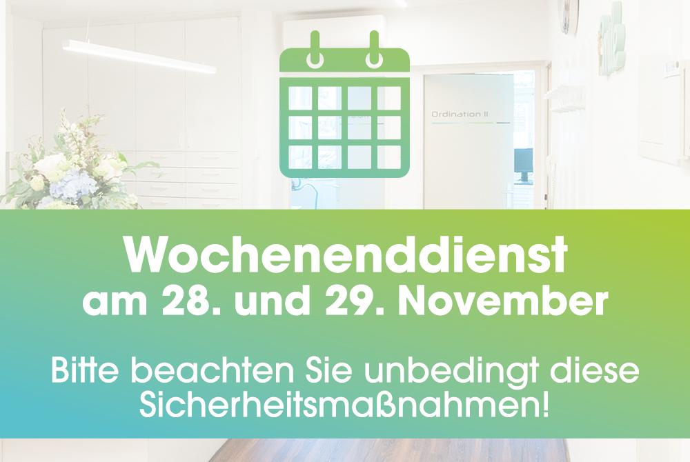Wochenenddienst am 28. und 29. November: Hier klicken für die geltenden Sicherheitsmaßnahmen